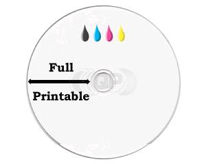 CD-R 100min 900MB 24X 25 pieces full white inkjet printable
