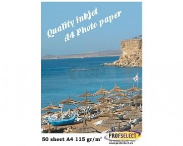 Inkjet photo paper A4 115g / m² glossy Profselect 50 sheets