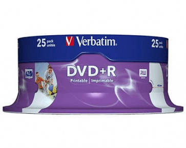 DVD+R 4.7GB 16X Verbatim 25 pieces full white inkjet printable