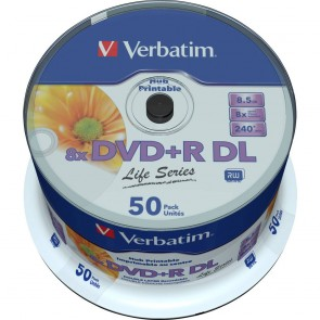 DVD+R 8.5GB 8X Verbatim double layer 25 pieces full white printable