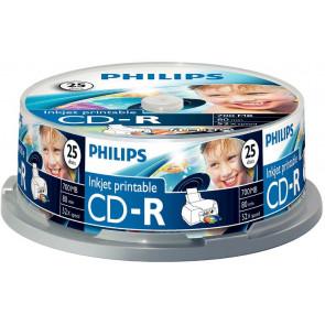 CD-R 80min 52X Philips 25 pieces full white inkjet printable