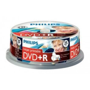 DVD+R 4.7GB 16X Philips 25 pieces full white inkjet printable