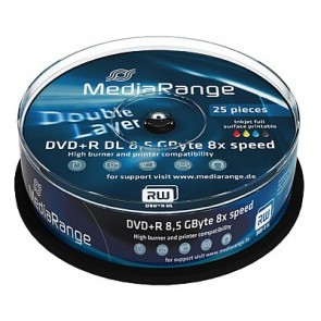 DVD+R 8.5GB 8X Mediarange double layer 25 pieces full white printable