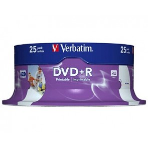 DVD+R 4.7GB 16X Verbatim 25 pieces full white inkjet printable