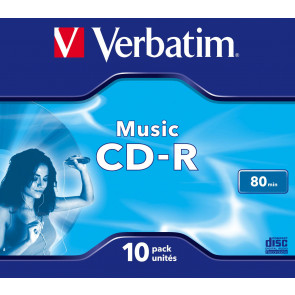 CD-R 80min AUDIO Verbatim 10 pieces full white inkjet printable