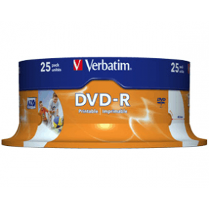 DVD-R 4.7GB 16X Verbatim 25 pieces full white inkjet printable